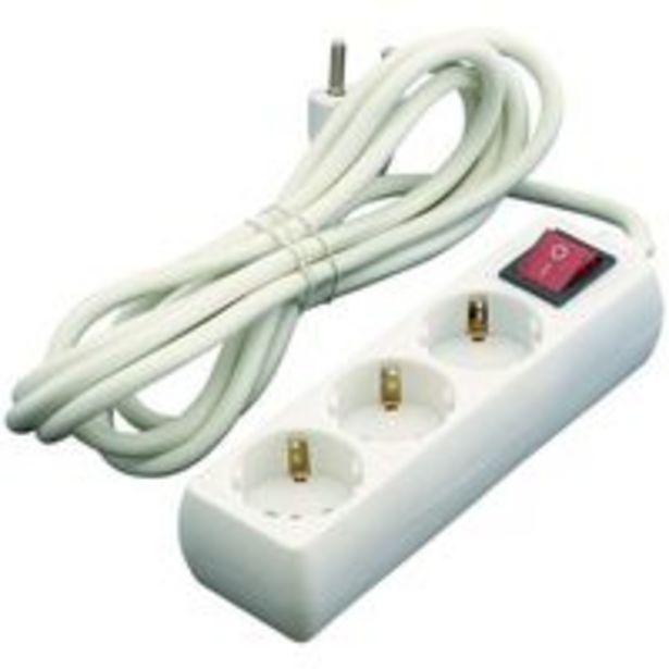 Oferta de Base de 3 tomas con interruptor de 16A cable EUROBRIC, 1,5m. por 4,99€