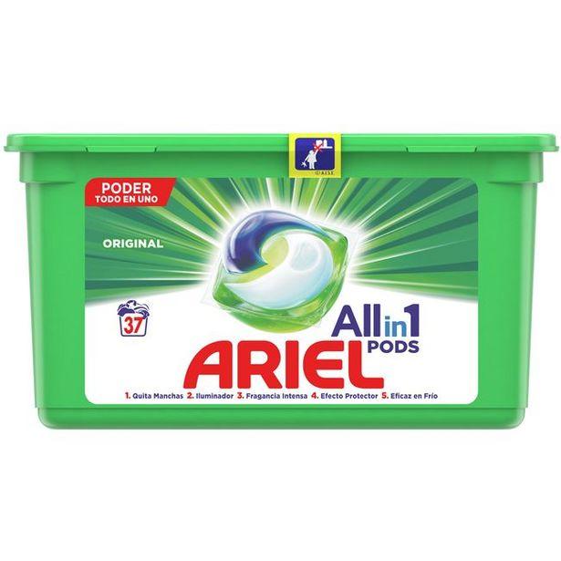 Oferta de Detergente en cápsulas original ARIEL, caja 37 dosis por 13,99€