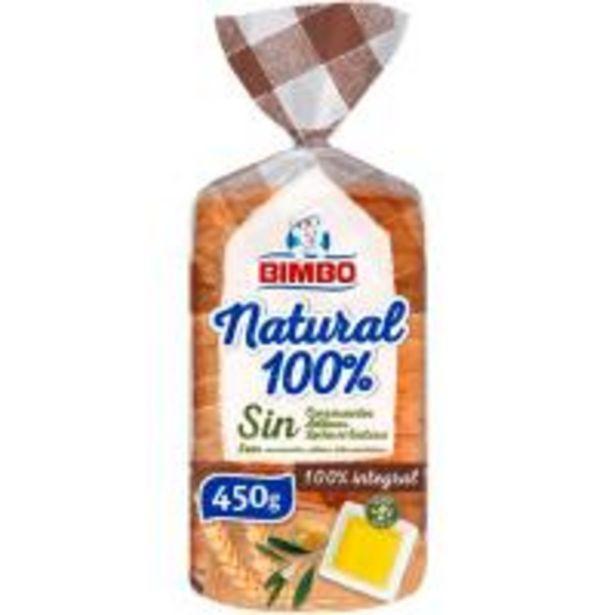 Oferta de Pan de molde 100% natural integral BIMBO, paquete 450 g por 1,99€