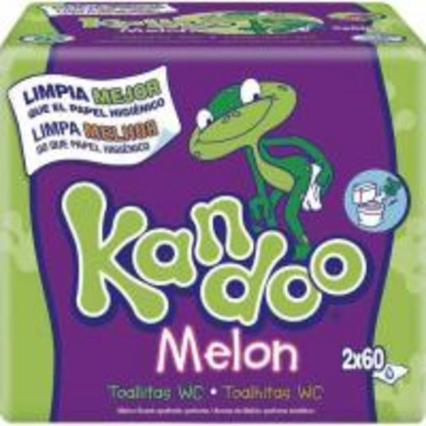 Oferta de Toallitas wc melón KANDOO, pack 2x60 uds por 5,25€