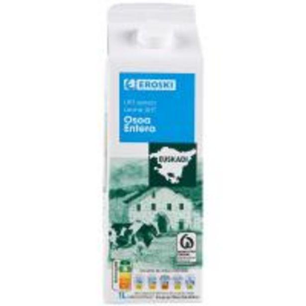 Oferta de Leche entera del País Vasco EROSKI, brik 1 litro por 0,65€