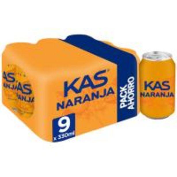 Oferta de Refresco de naranja KAS, pack 9x33 cl por 4,25€