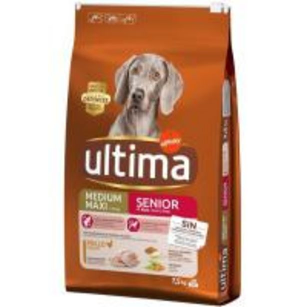 Oferta de Alimento para perro senior +7 años ULTIMA, saco 7,5 Kg por 24,99€