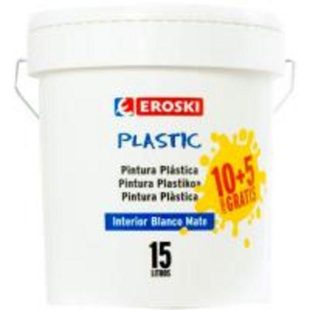 Oferta de Pintura plástica de interior rendimiento 7-9m2 color blanco mate EROSKI, 10+5l por 19,9€