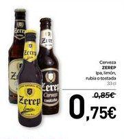 Oferta de Cerveza ZERP Ipa, limón, rubia o tostada por 0,75€