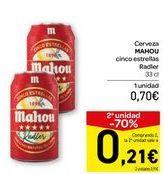 Oferta de Cerveza MAHOU Cinco estrellas Radler  por 0,7€