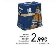 Oferta de Cerveza Tostada 0,0 MAHOU  por 2,99€