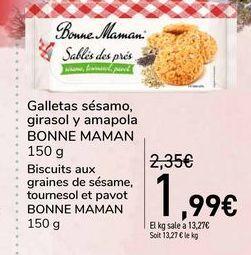 Oferta de Galletas sésamo, girasol y amapola BONNE MAMAN por 1,99€