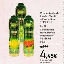 Oferta de Concentrado de Limón, Menta o Granadina TEISSEIRE por 4,45€