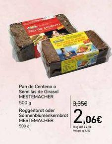 Oferta de Pan de Centeno o Semillas de Girasol MESTEMACHER por 2,06€
