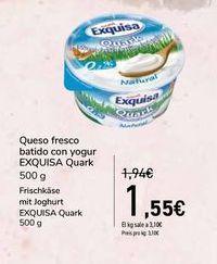 Oferta de Queso fresco batido con yogur EXQUISA Quark por 1,55€