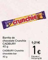 Oferta de Barrita de chocolate Crunchie CADBURY por 1€