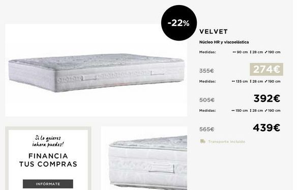 Oferta de Colchones 90x28x190 por 274€