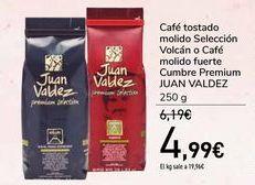Oferta de Café tostado molido Selección Volcán o Café molido fuerte Cumbre Premium JUAN VALDEZ por 4,99€