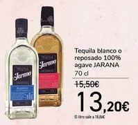 Oferta de Tequila blanco o reposado 100% agave JARANA por 13,2€