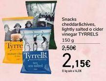 Oferta de Snacks cheddar&chives, lightly salted o cider vinegar TYRRELS por 2,15€