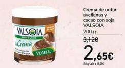 Oferta de Crema de untar avellanas y cacao con soja VALSOIA  por 2,65€
