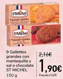 Oferta de 9 Galletas grandes con mantequilla y sal o chocolate ST MICHEL  por 1,9€