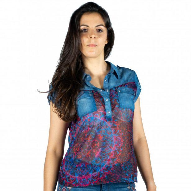 Oferta de Blusa Denim Y Estampado Mandalas por 15,99€