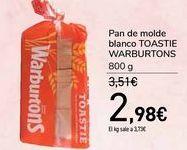 Oferta de Pan de molde blanco TOASTIE WARBURTONS por 2,98€