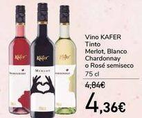 Oferta de Vino KAFER Tinto Merlot, Blanco Chardonnay o Rosé semiseco  por 4,36€