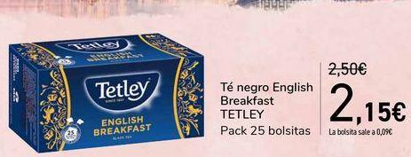 Oferta de Té negro English Breakfast TETLEY por 2,15€