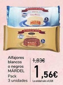 Oferta de Alfajores blancos o negros MÁRDEL  por 1,56€