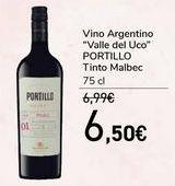 Oferta de Vino Argentino ''Valle del Uco'' PORTILLO Tinto Malbec  por 6,5€