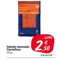 Oferta de Salmón ahumado carrefour 100g por 2,5€