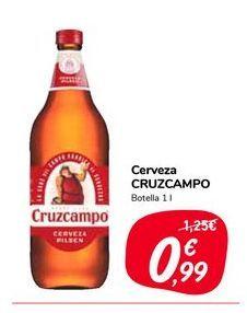 Oferta de Cerveza Cruzcampo Botella 1 l por 0,99€