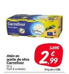 Oferta de Atún en aceite de oliva carrefour 52 g, 6 unidades por 2,99€