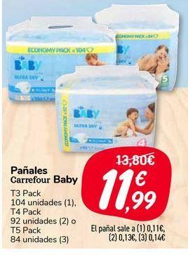Oferta de Pañales carrefour baby por 11,99€