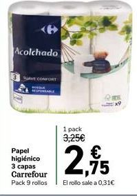 Oferta de Papel higiénico 3 capas carrefour pack de 9 rollos por 2,75€