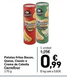 Oferta de Patatas fritas bacon, queso, classis o crema de cebolla carrefour 170 g por 0,99€