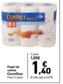 Oferta de Papel de cocina carrefour pack 3 rollos por 1,4€