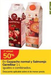 Oferta de Gazpacho normal y salmorejo  carrefour 1 l, iguales o combinados por