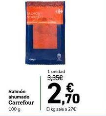 Oferta de Salmón ahumado carrefour 100 g por 2,7€