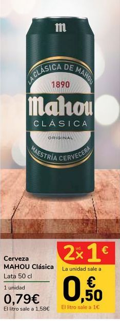 Oferta de Cerveza Mahou clásica lata 50 cl por 0,79€