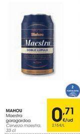 Oferta de MAHOU Cerveza maestra por 0,71€