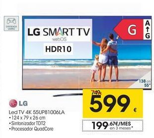 Oferta de LG Led TV 4K 55UP81006LA por 599€