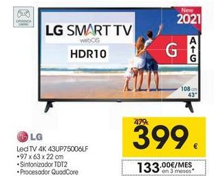 Oferta de LG Led TV 4K 43UP75006LF por 399€