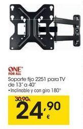Oferta de ONE FOR ALL Soporte fijo 2251 para TV por 24,9€