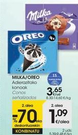 Oferta de MILKA/OREO Conos señalizados por 3,65€