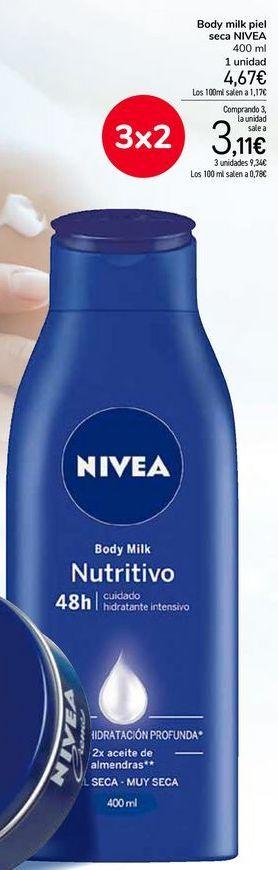 Oferta de Body milk piel seca NIVEA por 4,67€