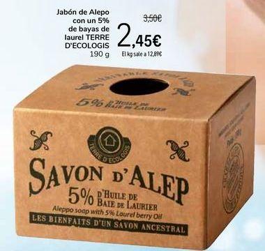 Oferta de Jabón de Alepo con un 5% de bayas de laurel TERRE D`ECOLOGIS por 2,45€