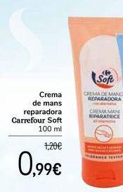 Oferta de Crema de manos reparadora Carrefour Soft por 0,99€