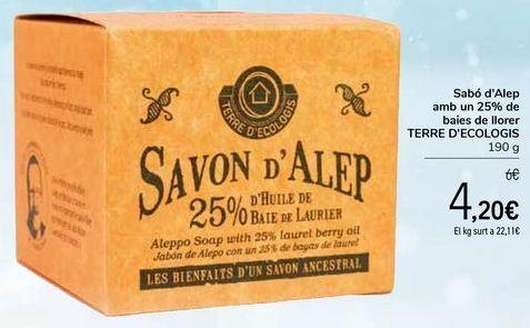 Oferta de Jabón de Alepo con un 25% de bayas de laurel TERRE D`ECOLOGIS por 4,2€