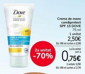 Oferta de Crema de manos care&protect SPF15 DOVE por 2,5€