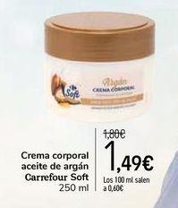 Oferta de Crema corporal aceite de argán Carrefour Soft por 1,49€