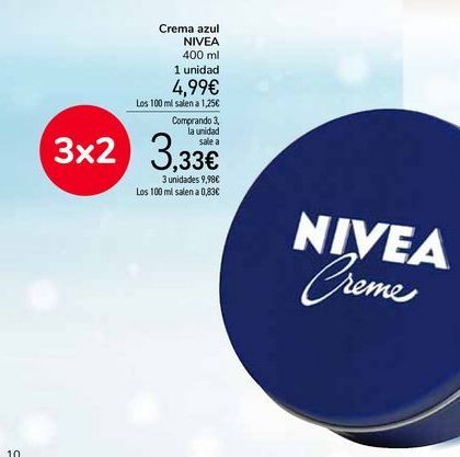Oferta de Crema azul NIVEA por 4,99€